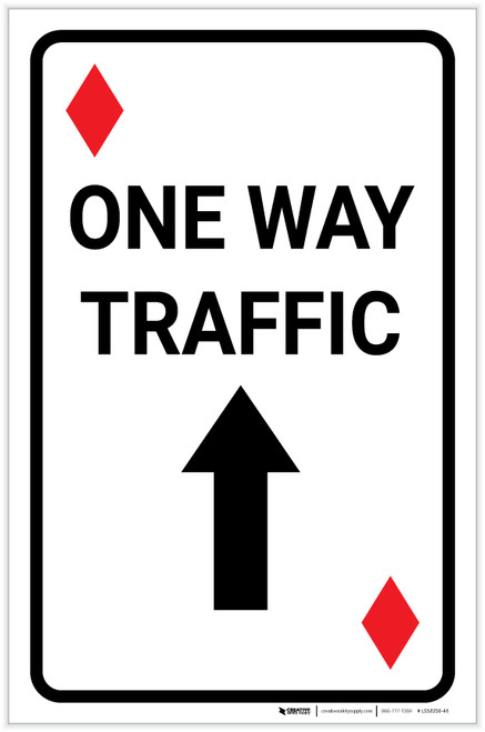 Casino - One Way Traffic Diamond Playing Card with Arrow Up Portrait - Label