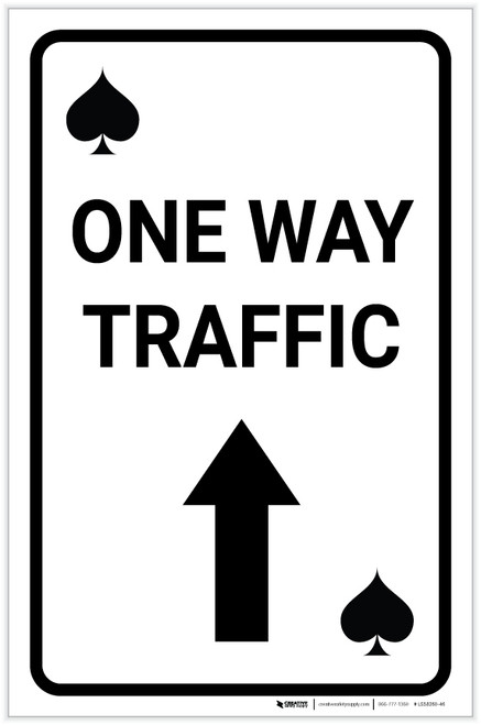 Casino - One Way Traffic Spades Playing Card with Arrow Up Portrait - Label