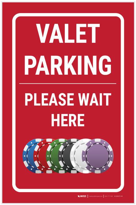 Casino Valet Parking - Please Wait Here Portrait with Emoji - Label