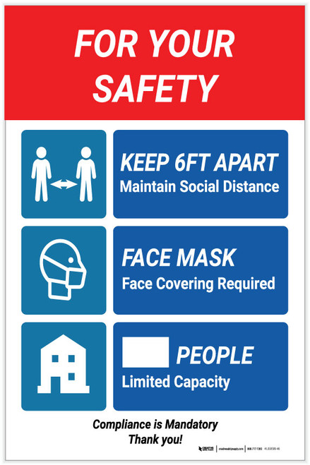 For Your Safety Social Distancing Multi-sign - Label
