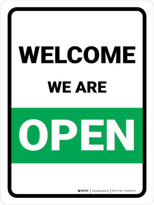 Welcome We Are Open Green Portrait - Wall Sign