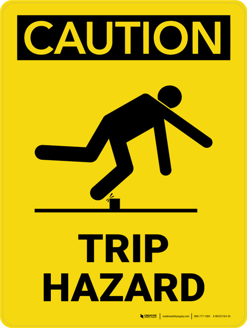 Caution: Trip Hazard with Icon Portrait - Wall Sign