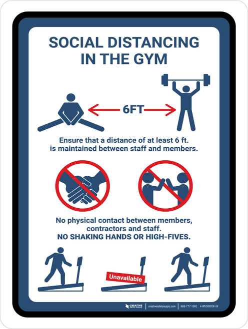 Social Distancing In The Gym Rules Portrait - Wall Sign