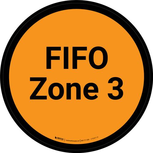 FIFO Zone 3 - Orange Circle - Floor sign