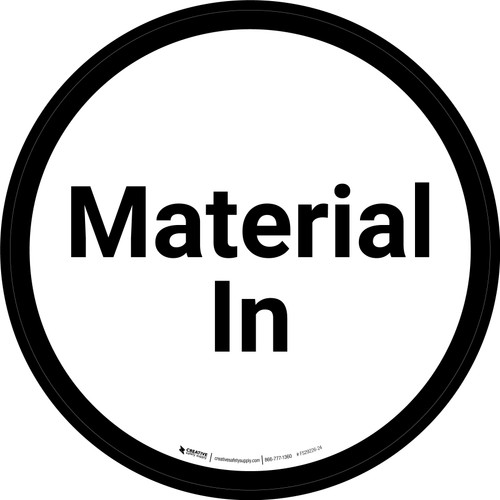 Material In - White/Black Circle - Floor sign