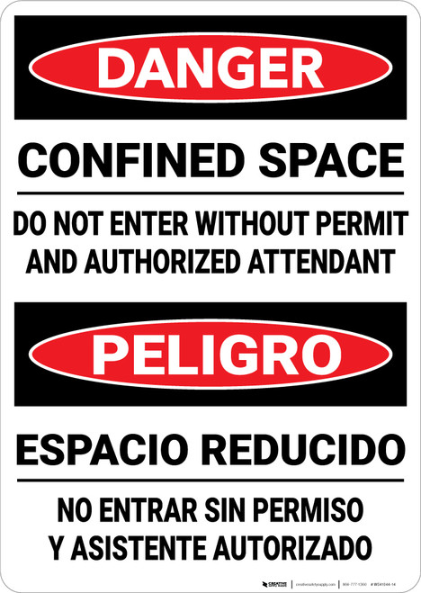 Danger: Confined Space Do Not Enter Without Permit Bilingual - Wall Sign