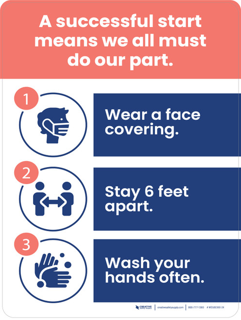 A Successful Start Means We All Must Do Our Part - Face Masks, 6 ft Apart, Hand Washing Portrait - Wall Sign