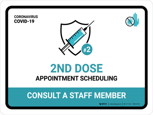 2nd Dose - Appointment Scheduling Landscape - Wall Sign