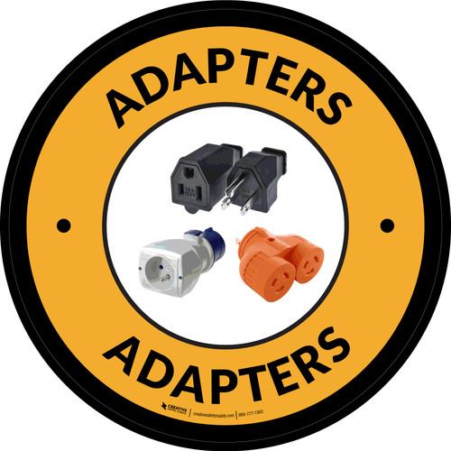 Adapters Yellow Circular - Floor Sign
