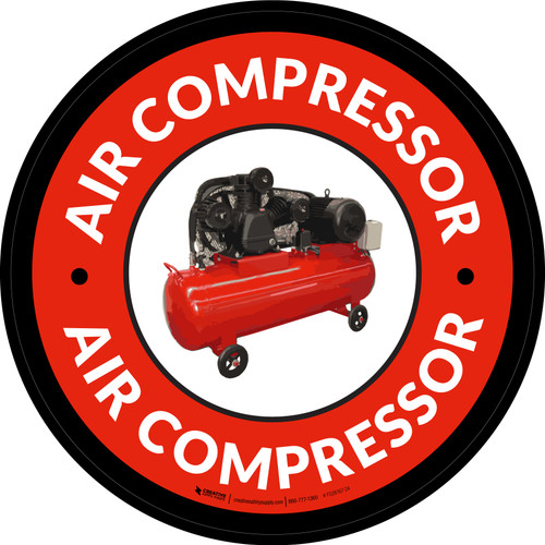 Air Compressor Red Circular - Floor Sign