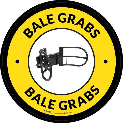 Bale Grabs Yellow Circular - Floor Sign