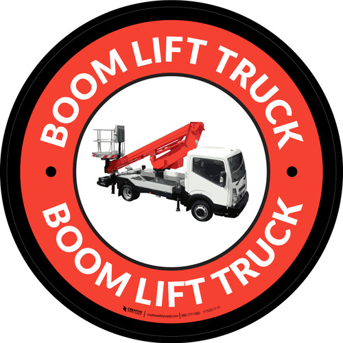 Boom Lift Truck Red Circular - Floor Sign