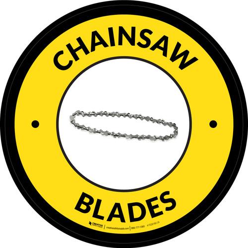 Chainsaw Blades Yellow Circular - Floor Sign