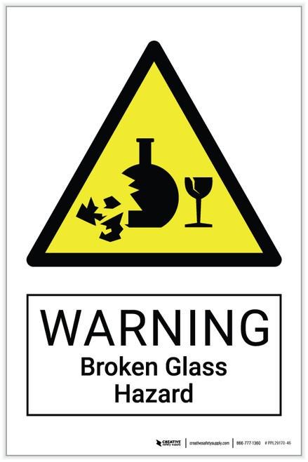 Warning: Broken Glass Hazard - Label