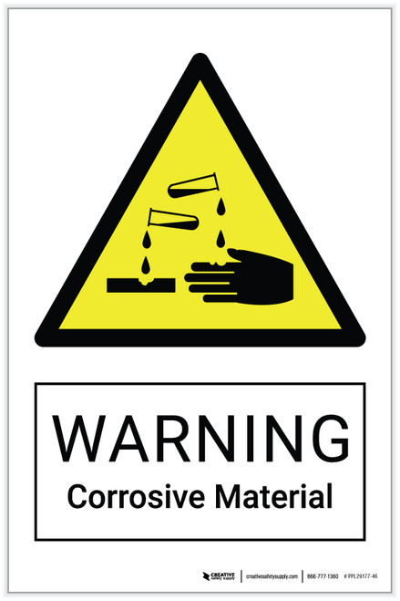Warning: Corrosive Material Safely Label.eps