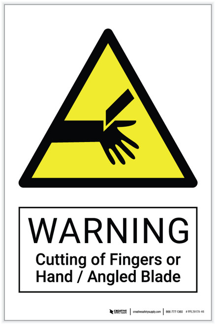 Warning: Cutting of Fingers or Hand / Angled Blade Hazard - Label