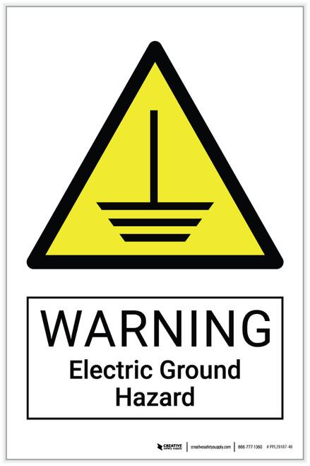 Warning: Electric Ground Hazard - Label