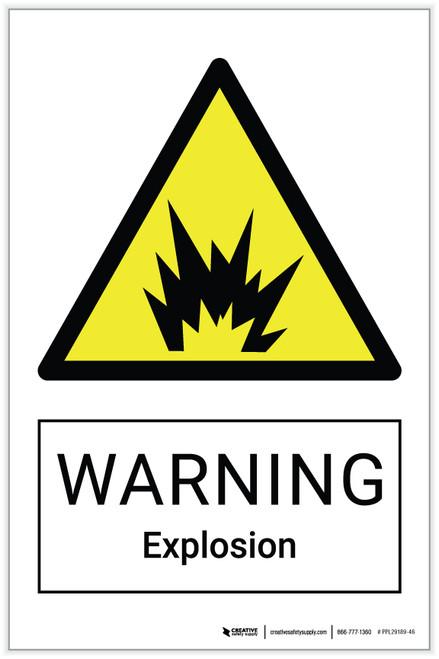 Warning: Explosion Hazard - Label