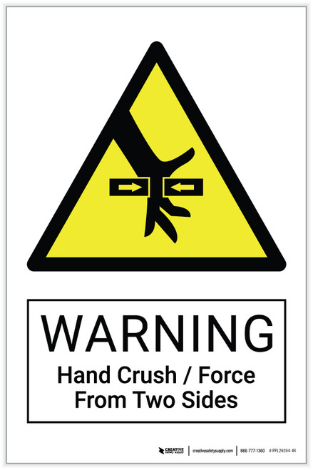 Warning: Hand Crush / Force From Two Sides Hazard - Label