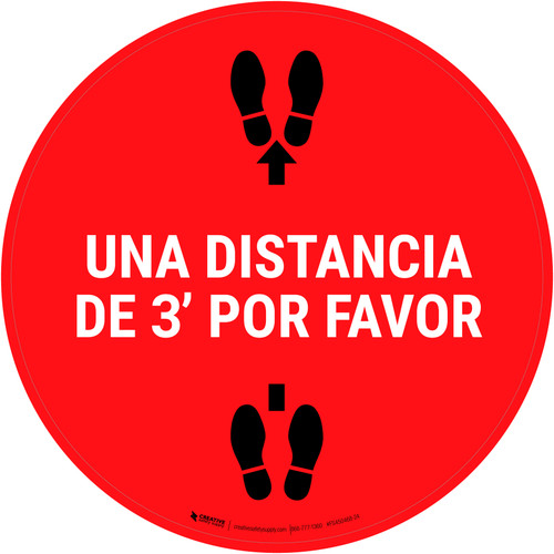 3ft Apart Please Spanish - Floor Sign