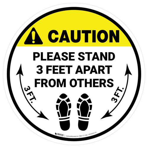 Caution: Please Stand 3 Feet Apart From Others Shoe Prints - Circular - Floor Sign