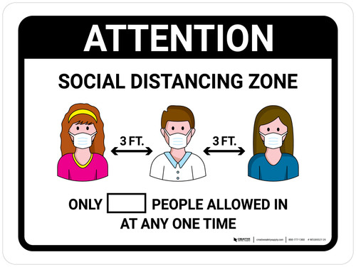 Attention Social Distancing Zone with 3ft Icons Landscape - Wall Sign