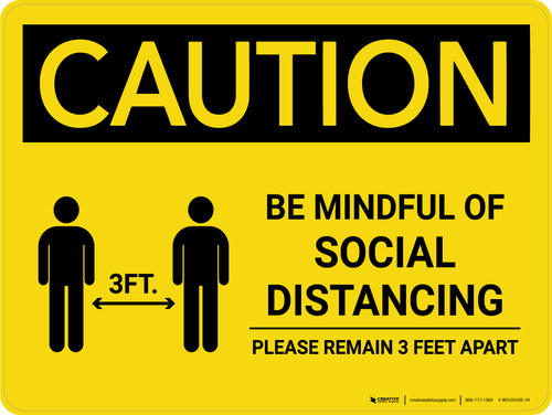 Caution: Be Mindful of Social Distancing with 3ft Icon Landscape - Wall Sign