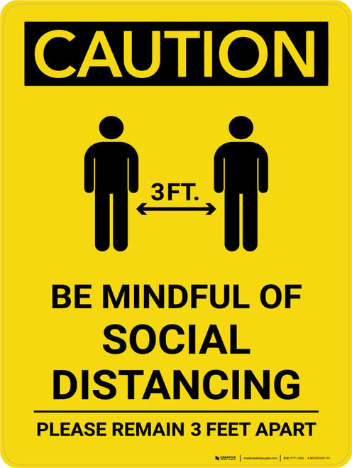 Caution: Be Mindful of Social Distancing with 3ft Icon Portrait - Wall Sign