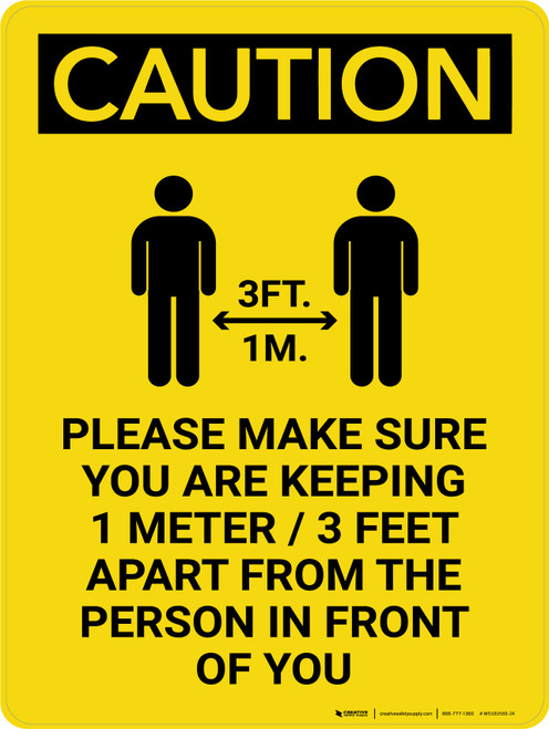 Caution: Make Sure You Are Keeping 3 Feet Apart with Icon Portrait - Wall Sign