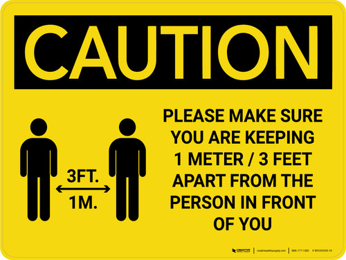 Caution: Please Make Sure You Are Keeping 3 Feet Apart with Icon Landscape - Wall Sign