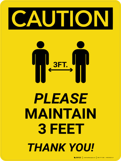 Caution: Please Maintain 3 Feet with Icon Portrait - Wall Sign
