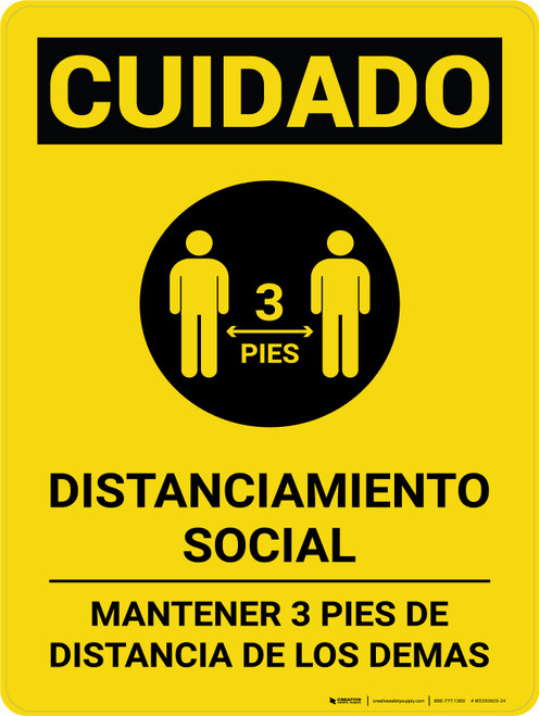 Caution: Social Distancing 3ft Spanish with Icon Portrait - Wall Sign