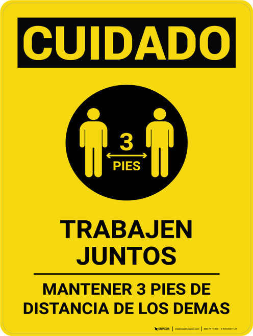 Caution: Work Together Keep 3ft Spanish with Icon Portrait - Wall Sign