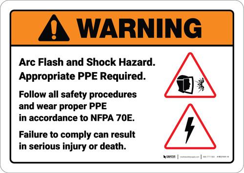 Warning: Arc Flash Shock Hazard ANSI - Wall Sign