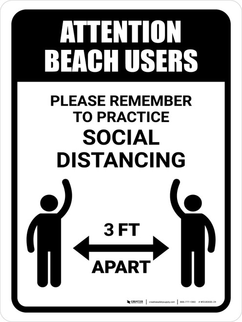 Attention Beach Users Social Distancing 3ft Portrait - Wall Sign