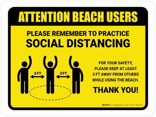 Attention: Beach Users Remember Social Distancing with 3ft Icon Landscape - Wall Sign
