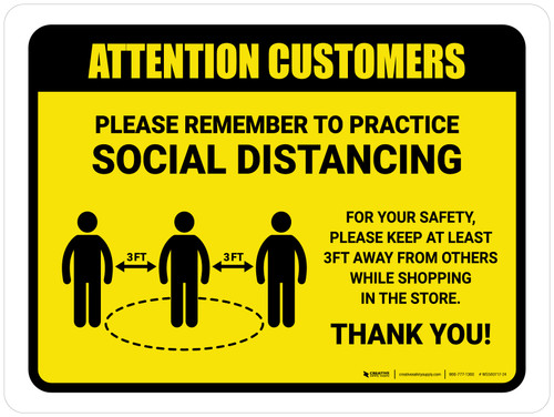Attention: Customers Remember Social Distancing with 3ft Icon Landscape - Wall Sign