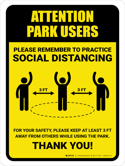 Attention: Park Users Remember Social Distancing with 3ft Icon Portrait - Wall Sign