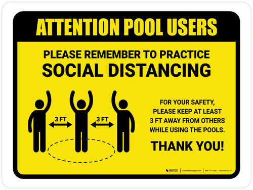 Attention: Pool Users Remember Social Distancing with 3ft Icon Landscape - Wall Sign
