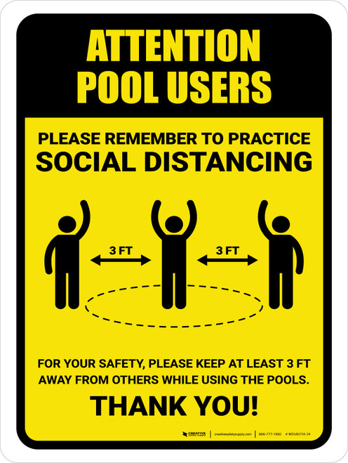 Attention: Pool Users Remember Social Distancing with 3ft Icon Portrait - Wall Sign