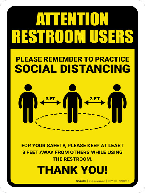 Attention: Restroom Users Remember Social Distancing with 3ft Icon Portrait - Wall Sign