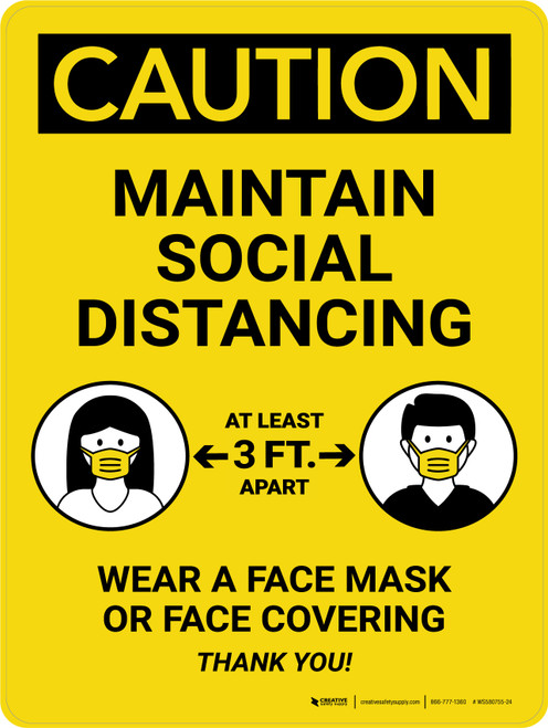 Caution: Maintain Social Distancing 3ft - Wear a Face Mask/Covering Portrait - Wall Sign