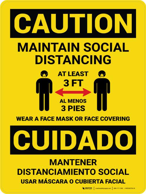 Caution: Social Distancing 3ft - Wear Face Mask Bilingual Portrait - Wall Sign