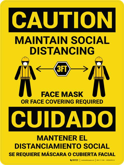 Caution: Maintain Social Distancing 3ft - Face Mask Required with Icons Bilingual Portrait - Wall Sign