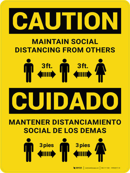 Caution: Maintain Social Distancing From Others - 3 ft Bilingual Portrait - Wall Sign