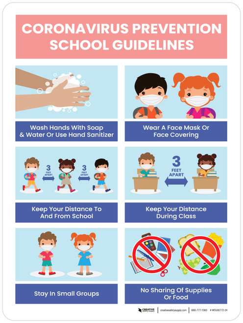 Coronavirus Prevention School Guidelines - Handwashing, Face Masks, 3ft Social Distancing, Small Groups, No Sharing Portrait - Wall Sign