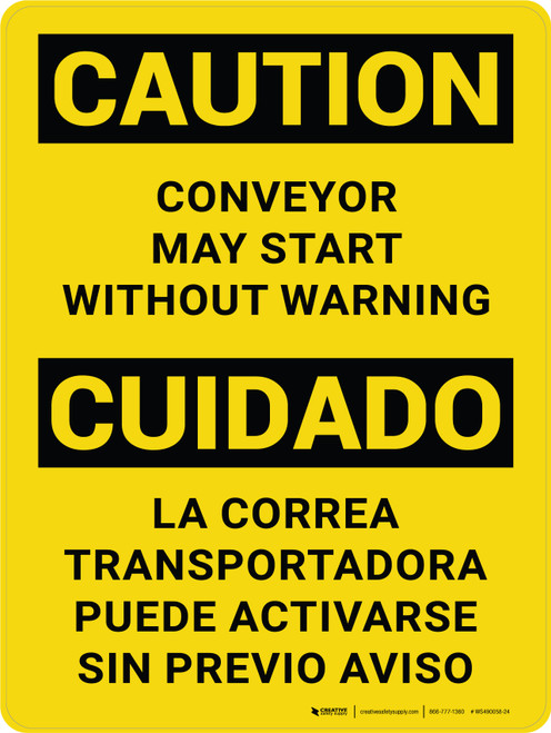 Caution: Conveyor May Start Without Warning Bilingual Portrait - Wall Sign