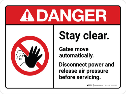 Danger: ANSI Stay Clear Gates Move Automatically Disconnect Power and Release Air Pressure Landscape - Wall Sign