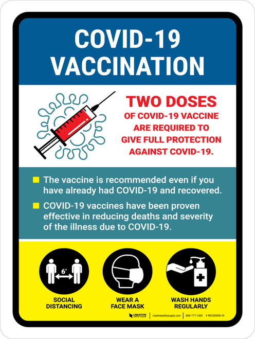 2 Doses Covid-19 Vaccinations Required Portrait - Wall Sign
