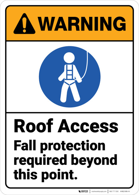 Warning: Roof Access Fall Protection Required ANSI - Wall Sign